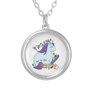 Chubby Unicorn Eating a Rainbow - A Magical Mess Silver Plated Necklace