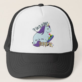 Chubby Unicorn Eating a Rainbow - A Magical Mess Trucker Hat