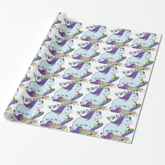 Chubby Unicorn Eating a Rainbow - A Magical Mess Wrapping Paper