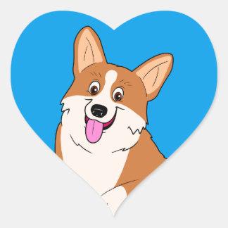 Chubby Welsh Corgi Cartoon Heart Sticker