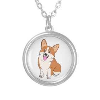Chubby Welsh Corgi Cartoon Silver Plated Necklace