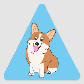 Chubby Welsh Corgi Cartoon Triangle Sticker