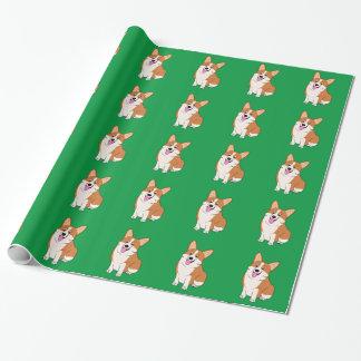Chubby Welsh Corgi Cartoon Wrapping Paper