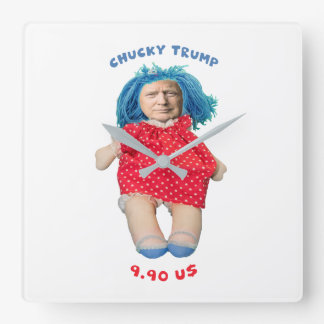 Chucky Donald Trump Doll Square Wall Clock