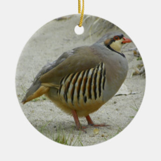 Chukar Partridge Round Ceramic Ornament
