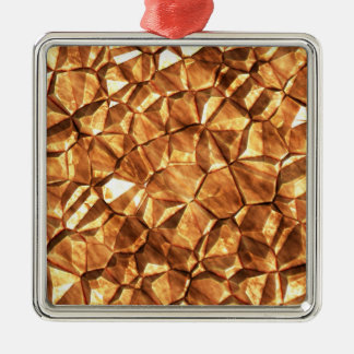 Chunks of Gold Nuggets Background Silver-Colored Square Ornament