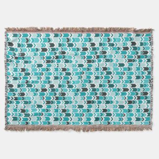 Chunky Chevron Arrows Teal Throw
