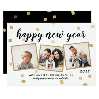 Chunky Confetti 3 Photo New Year's Cards