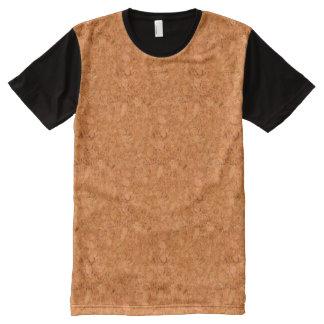 Chunky Natural Cork Wood Grain Look All-Over-Print T-Shirt