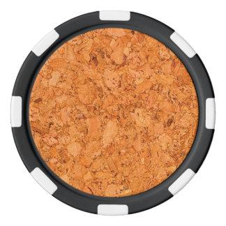 Chunky Natural Cork Wood Grain Look Poker Chip Set