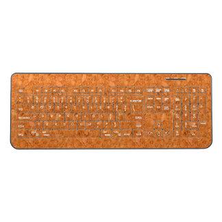 Chunky Natural Cork Wood Grain Look Wireless Keyboard