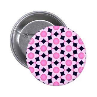 Chunky Pink Daisies on Black 2 Inch Round Button