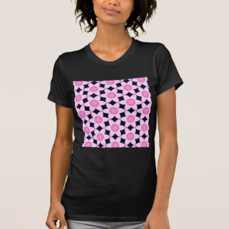Chunky Pink Daisies on Black T-Shirt