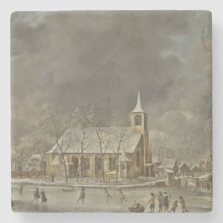 Church and Iceskaters Stone Coaster