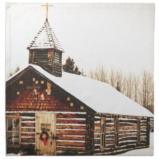 church and snow napkin