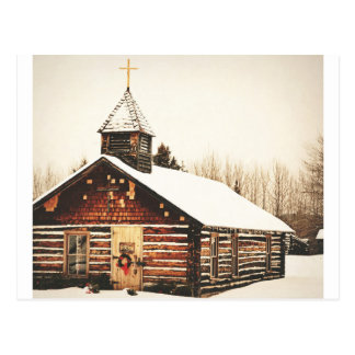 church and snow postcard