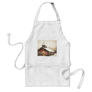 church and snow standard apron