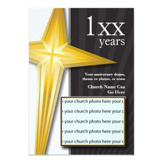 Church Anniversary Golden Cross Card