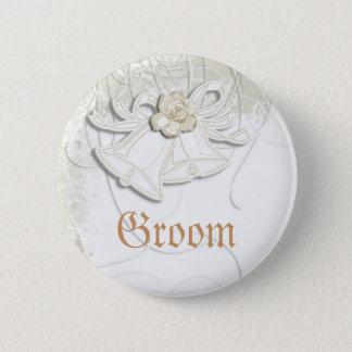 Church bells n floral wedding white 2 inch round button