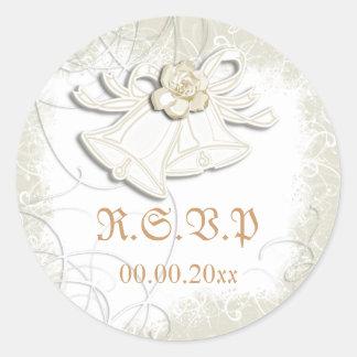 Church bells n floral wedding white round sticker