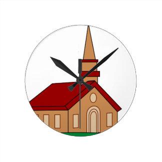 Church Cartoon Round Clock