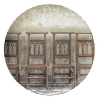 church chairs plate