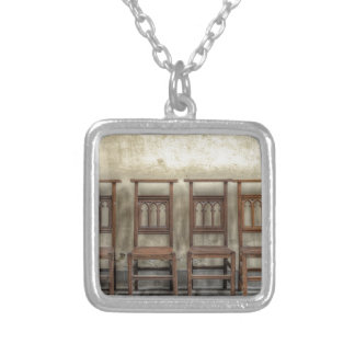 church chairs silver plated necklace