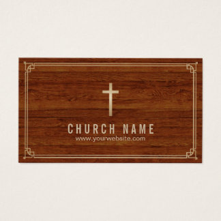 Church Cross Gold Framed Elegant Wood Pastor Business Card