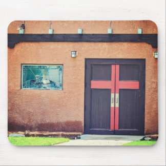 Church Door with Red Cross Mousepad