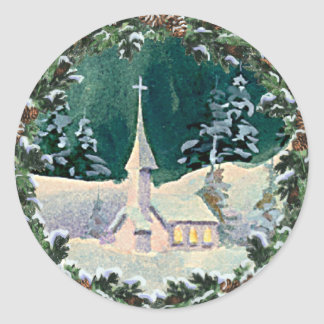 CHURCH & FIR WREATH by SHARON SHARPE Classic Round Sticker