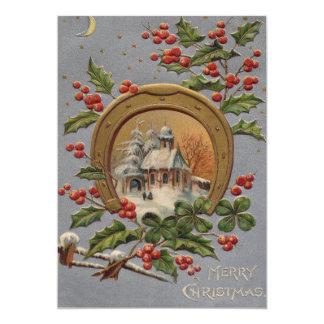"""Church Holly Christmas Tree Gold Horseshoe 5"""" X 7"""" Invitation Card"""