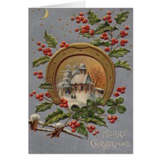 Church Holly Christmas Tree Gold Horseshoe Greeting Card