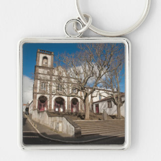Church in Azores Silver-Colored Square Keychain