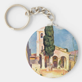 Church In Cagnes By Pierre-Auguste Renoir Basic Round Button Keychain
