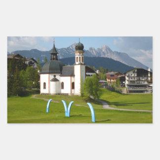 Church in Seefeld, Austria rectangular sticker