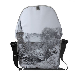 church in snow commuter bags