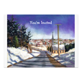 Church in Snow: Painting: Christmas Invitation