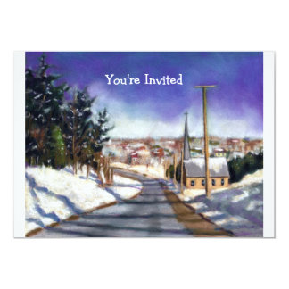 "Church in Snow: Painting: Christmas Invitation 5"" X 7"" Invitation Card"
