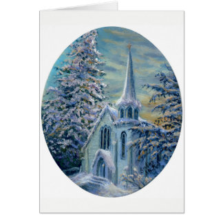 """""""Church In the Snow"""" Blank Note Card"""