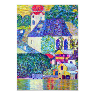 Church in Unterach on Lake Atter Klimt St Wolfgang 5x7 Paper Invitation Card