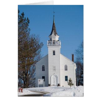 Church in winter card