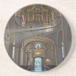 Church interior architectural building coaster