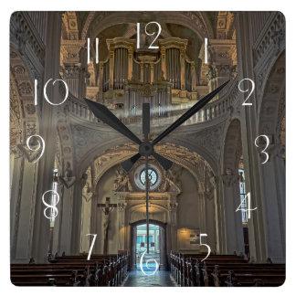 Church interior architectural building square wall clock