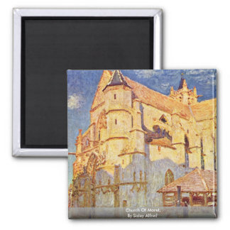 Church Of Moret, By Sisley Alfred Square Magnet