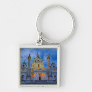 Church of Saint Charles, Vienna Silver-Colored Square Keychain