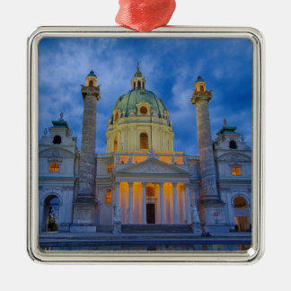 Church of Saint Charles, Vienna Silver-Colored Square Ornament