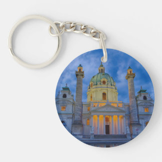 Church of Saint Charles, Vienna Single-Sided Round Acrylic Keychain