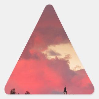 Church of Saint Nicholas at sunset Triangle Sticker