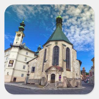 Church of St. Catherine, Banska Stiavnica,Slovakia Square Sticker