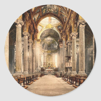 Church of the Annunciation, interior, Genoa, Italy Classic Round Sticker